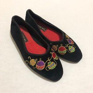 Vintage Embroidered Christmas Velvet Flats—6.5